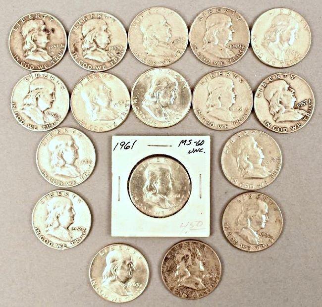 17 Franklin Half Dollars