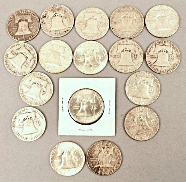 17 Franklin Half Dollars - 2