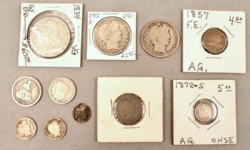 11 Vintage American Coins 1834 Half, 1857 FE
