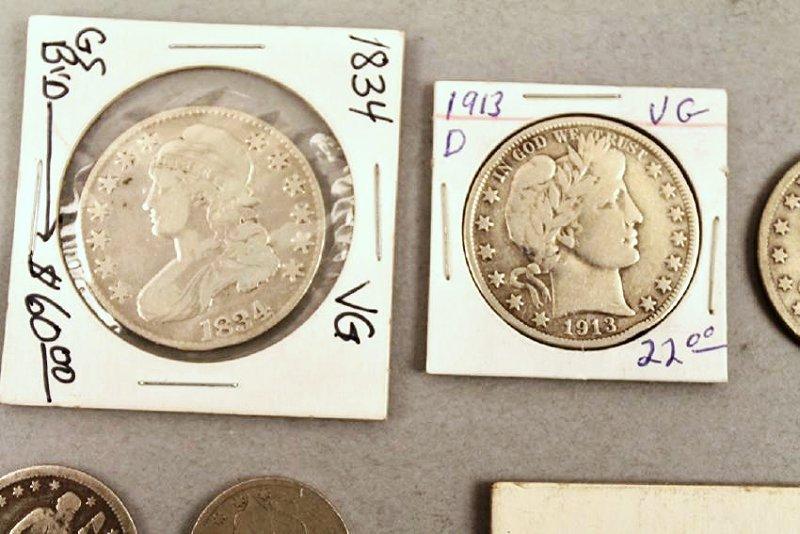 11 Vintage American Coins 1834 Half, 1857 FE - 3