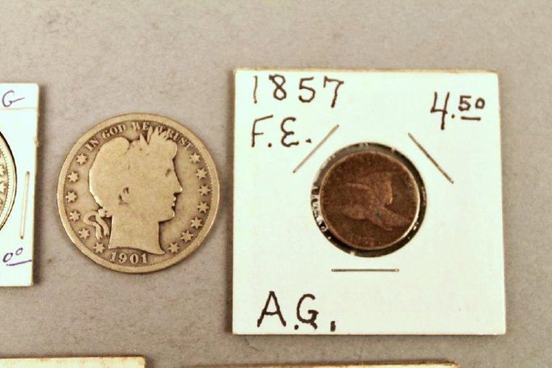 11 Vintage American Coins 1834 Half, 1857 FE - 4