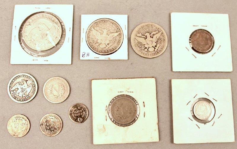 11 Vintage American Coins 1834 Half, 1857 FE - 6
