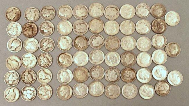 63 Silver Dimes + 18 Mercury 45 Roosevelt