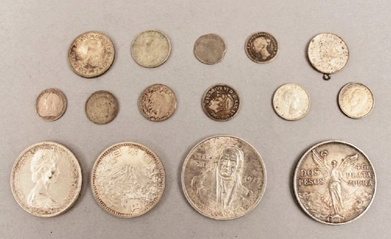 Lot of 15 Silver Foreign Coins