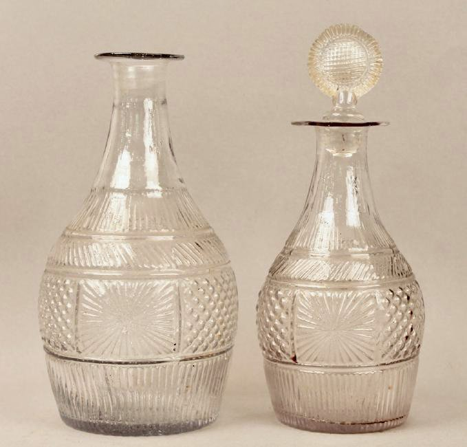 Two 18th Century Pressed Glass Decanters