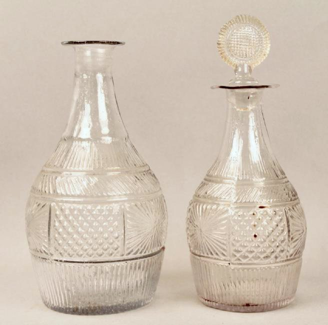 Two 18th Century Pressed Glass Decanters - 2