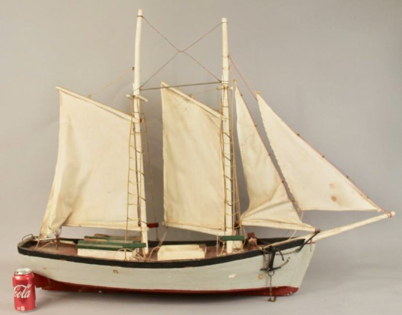 Two Masted Schooner on Stand