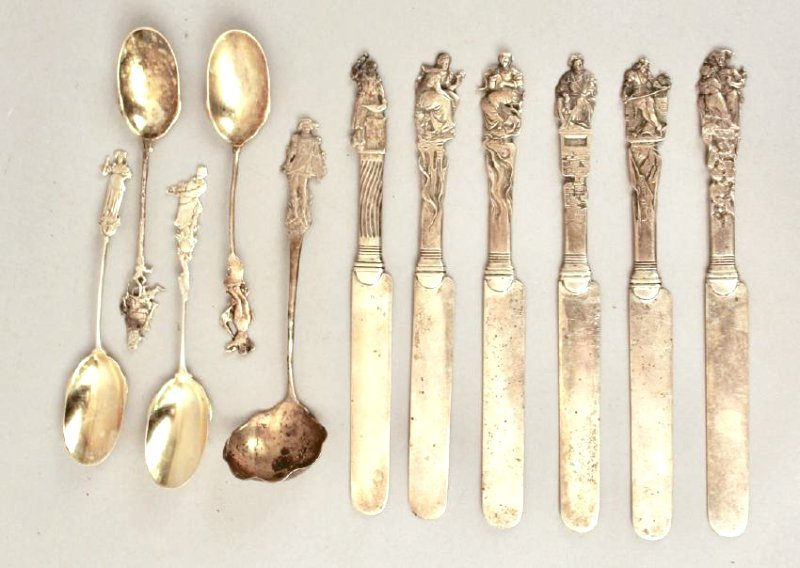 Lot of Figural Sterling Silver Spoons and Knives