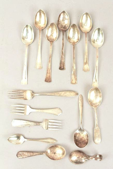 15 pc Sterling Silver inc Childs & Demitasse Sets