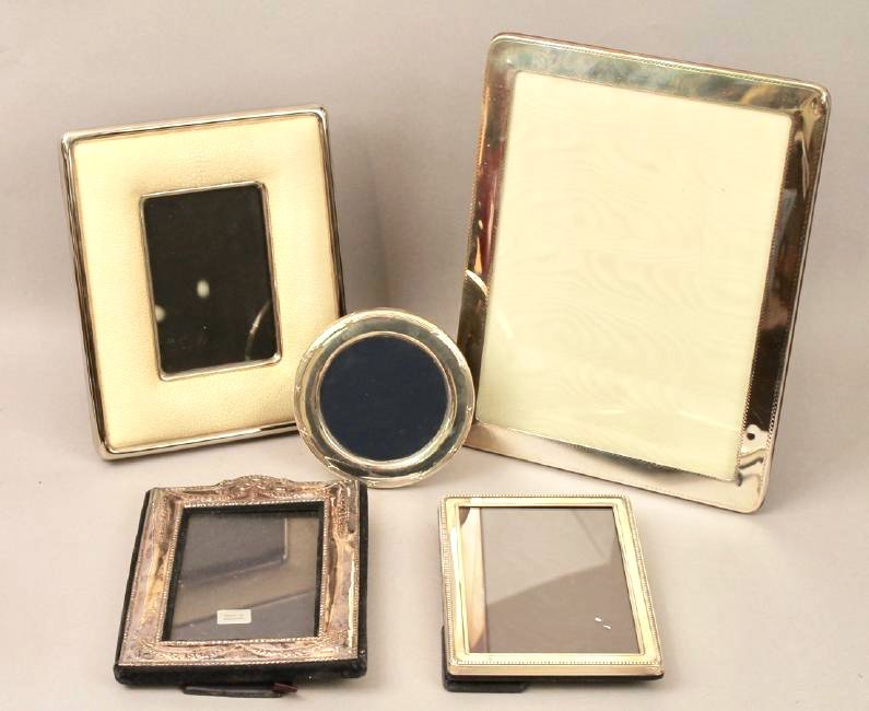 5 Sterling Silver Frames, 1 with Shagreen