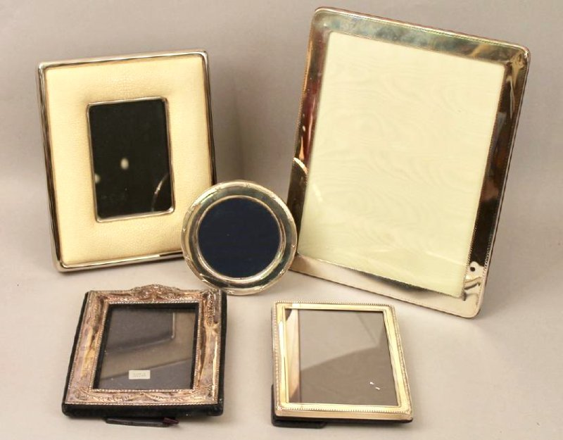 5 Sterling Silver Frames, 1 with Shagreen - 2