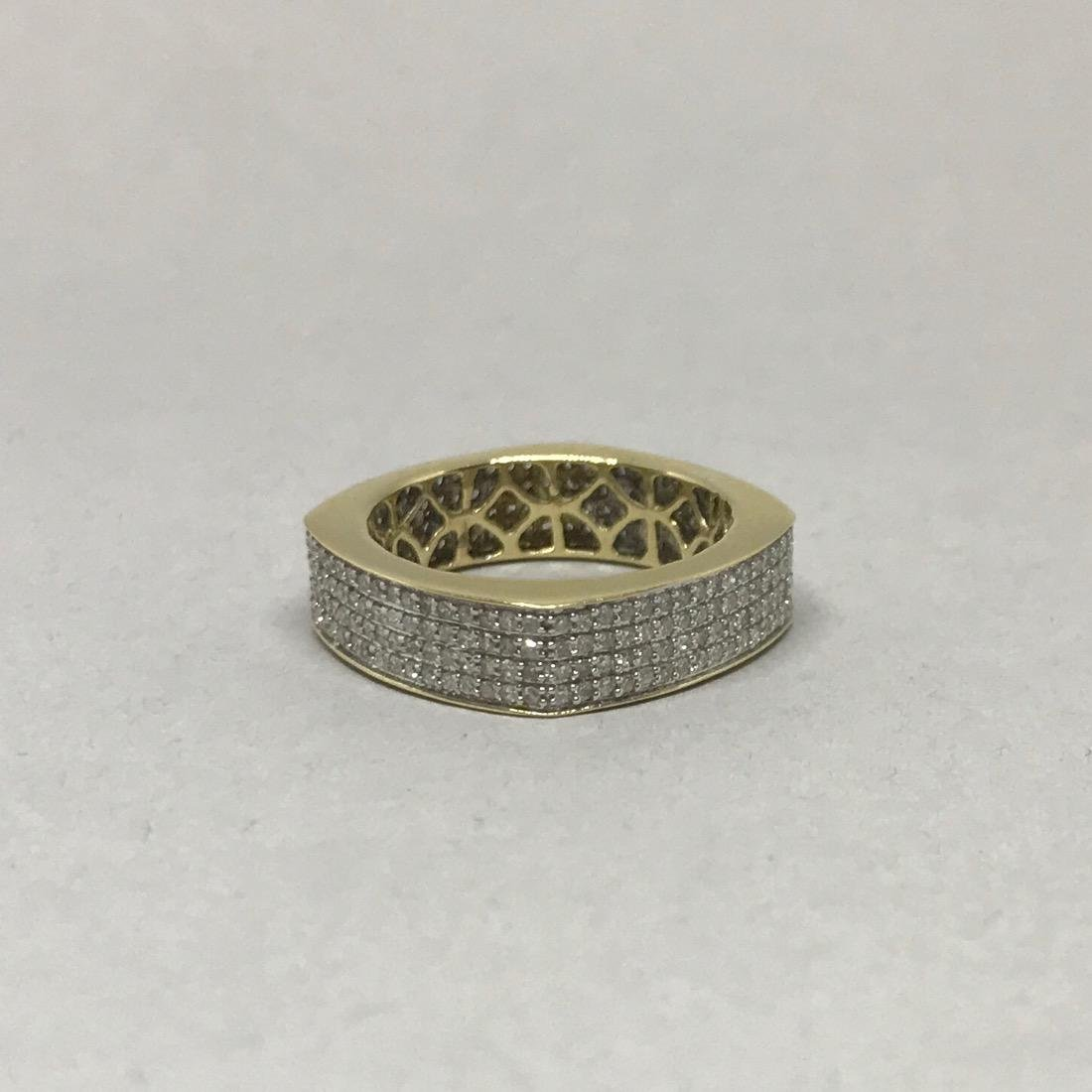 14Kt Gold Square Band with Pave Diamonds