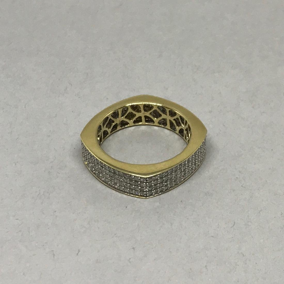 14Kt Gold Square Band with Pave Diamonds - 2