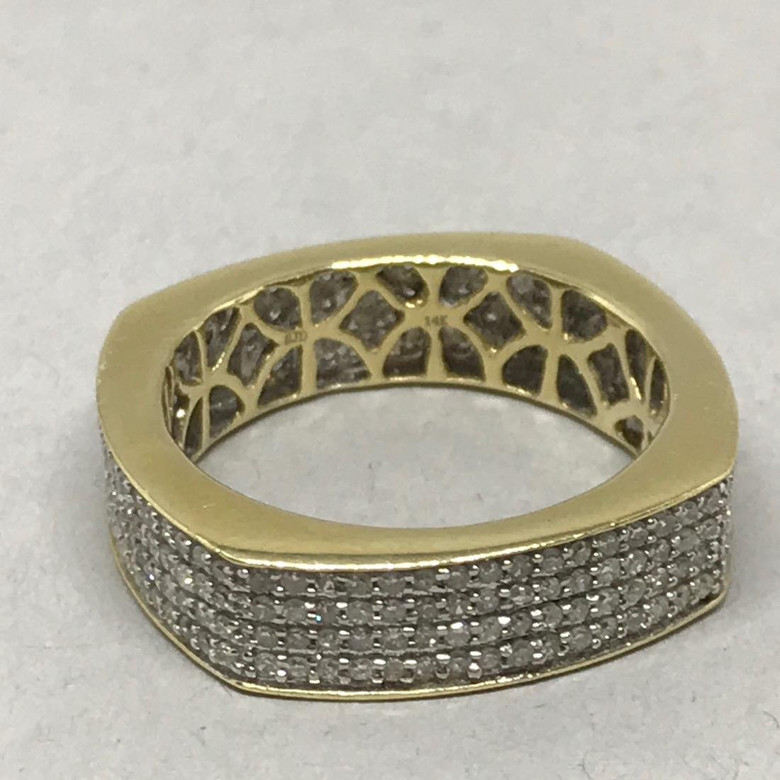14Kt Gold Square Band with Pave Diamonds - 3