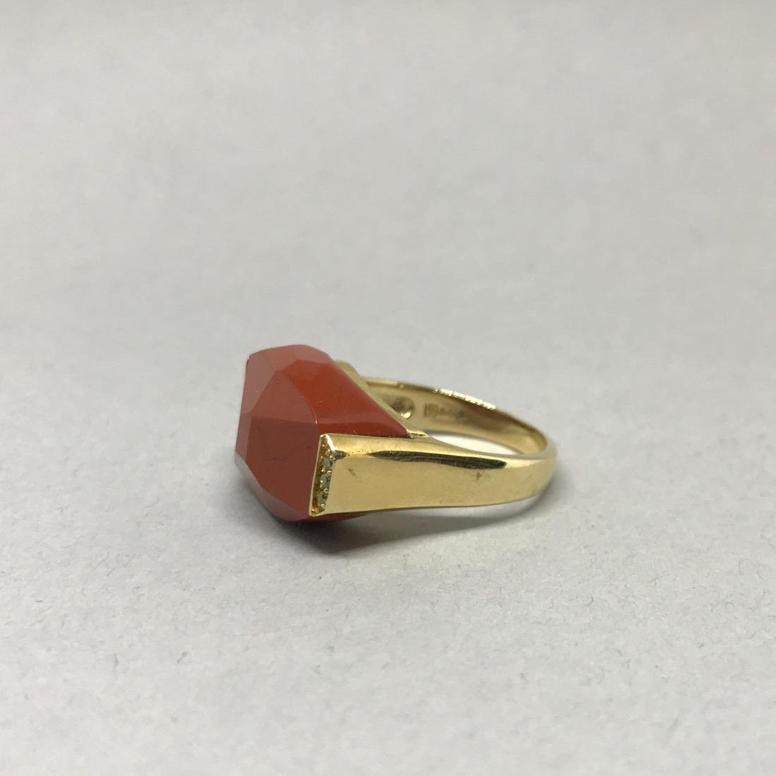 14Kt Gold Ring with Jasper & Diamonds - 3