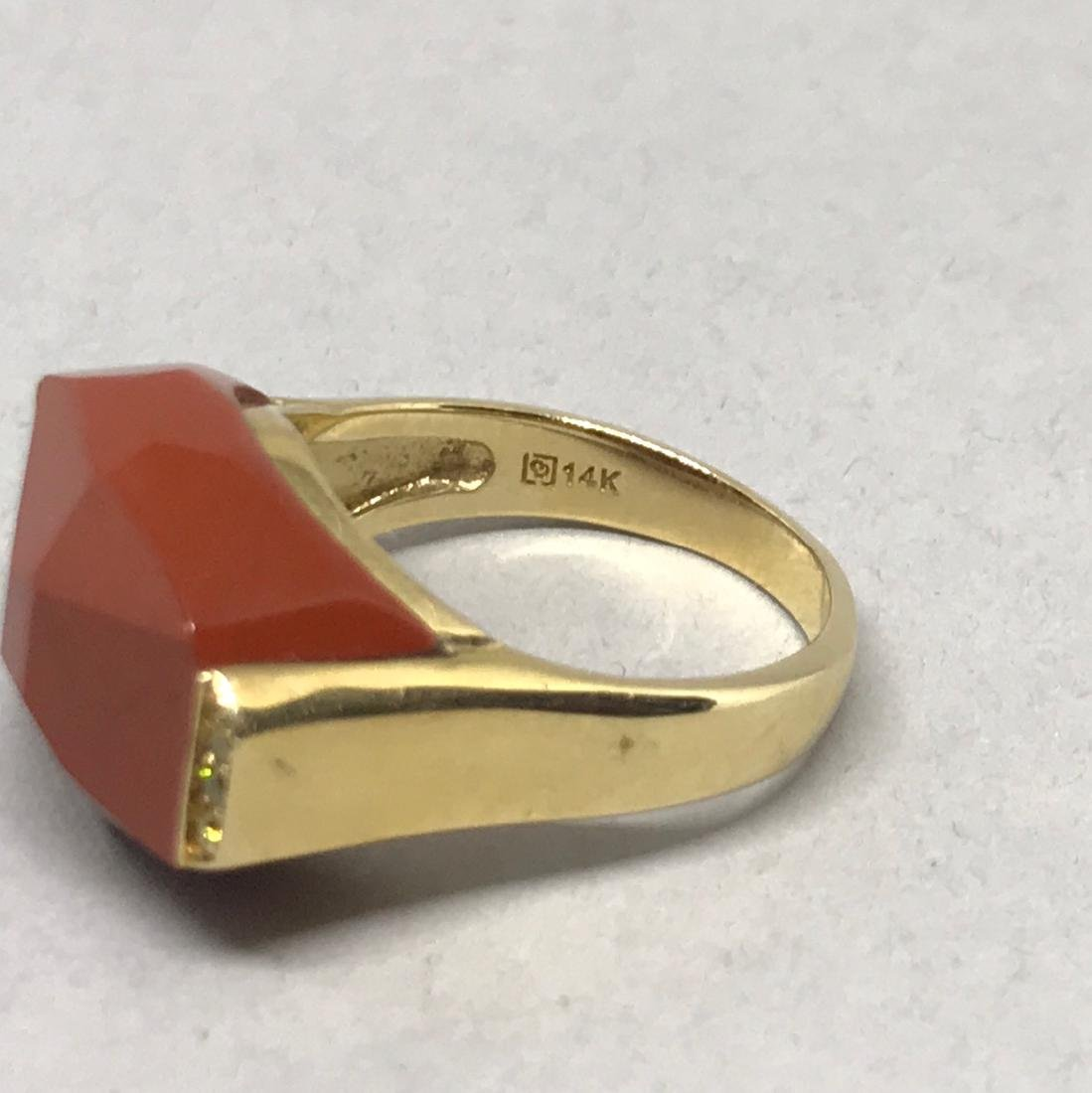14Kt Gold Ring with Jasper & Diamonds - 4
