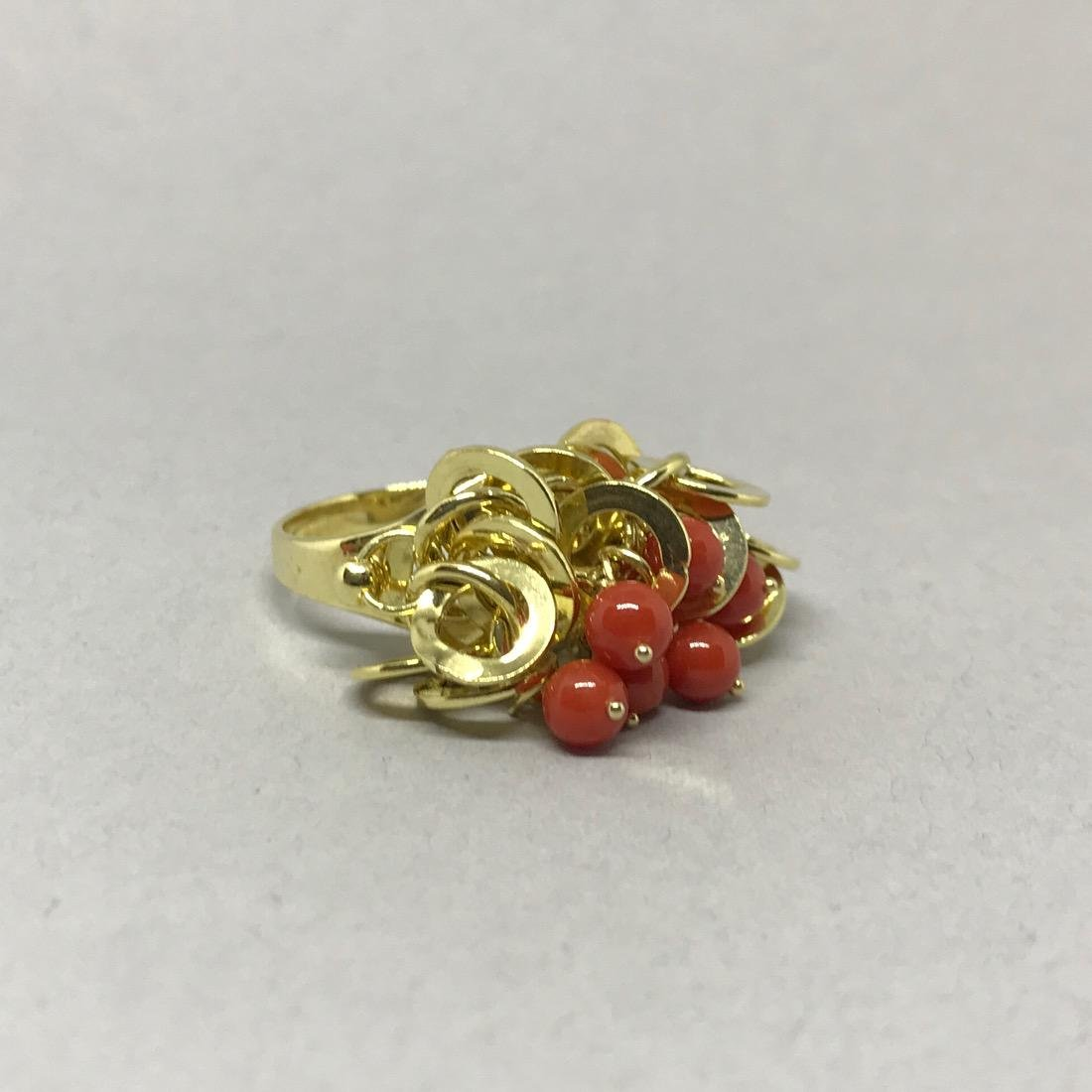 14 Kt Gold Cocktail Ring with Coral Beads.