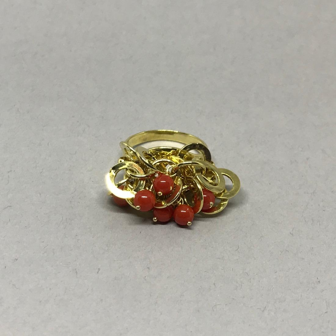 14 Kt Gold Cocktail Ring with Coral Beads. - 3