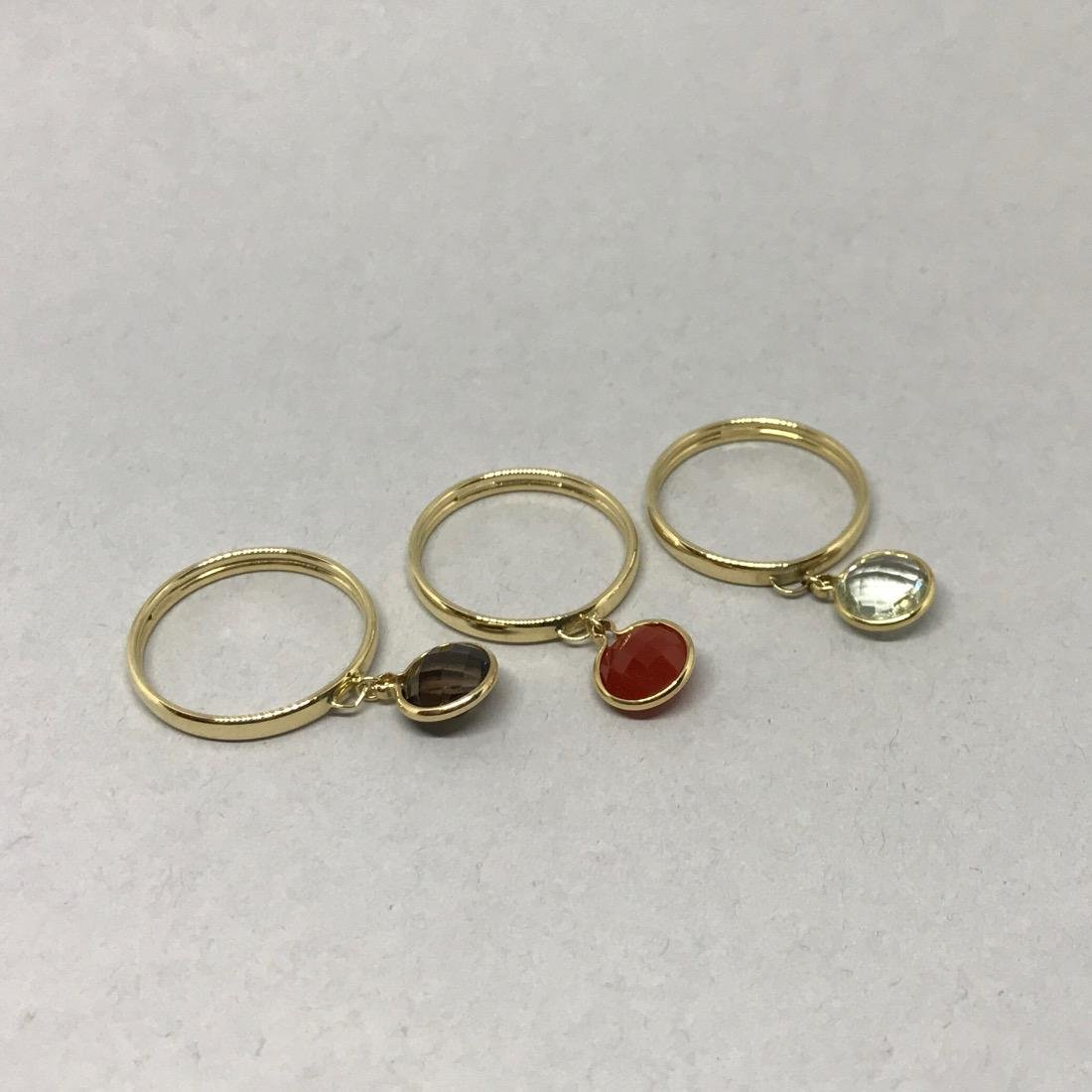 Set of 3 14K Gold Rings with Gemstone Charms