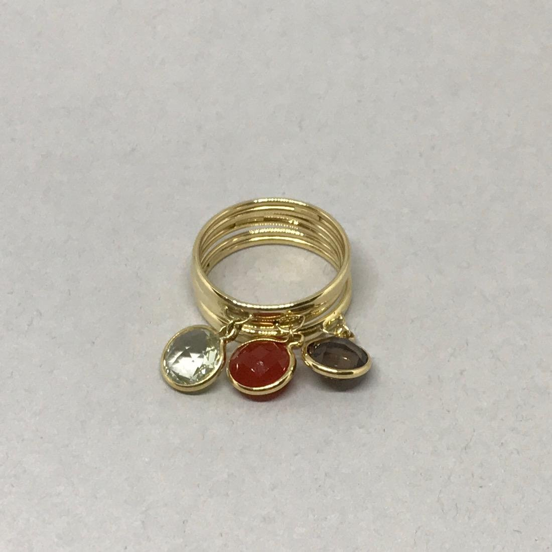 Set of 3 14K Gold Rings with Gemstone Charms - 2