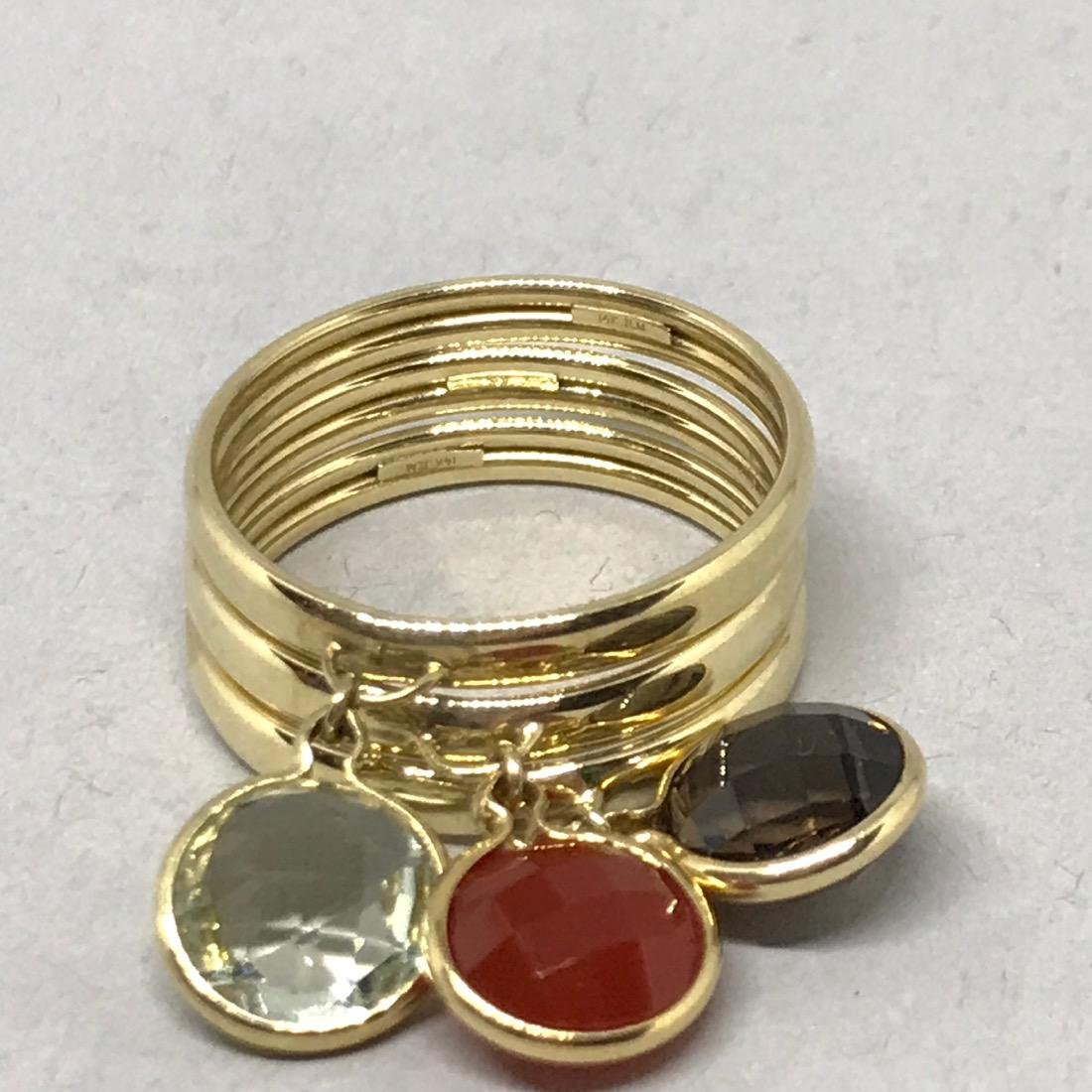Set of 3 14K Gold Rings with Gemstone Charms - 3
