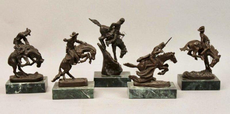 Set of 5 miniature Remmington Bronze