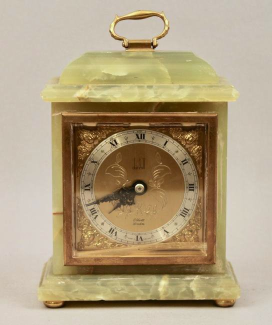 Dunhill Brass and Green Onyx Shelf Clock