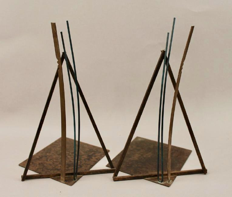 Pair of  Mid Century Bronze Bookends Higgins