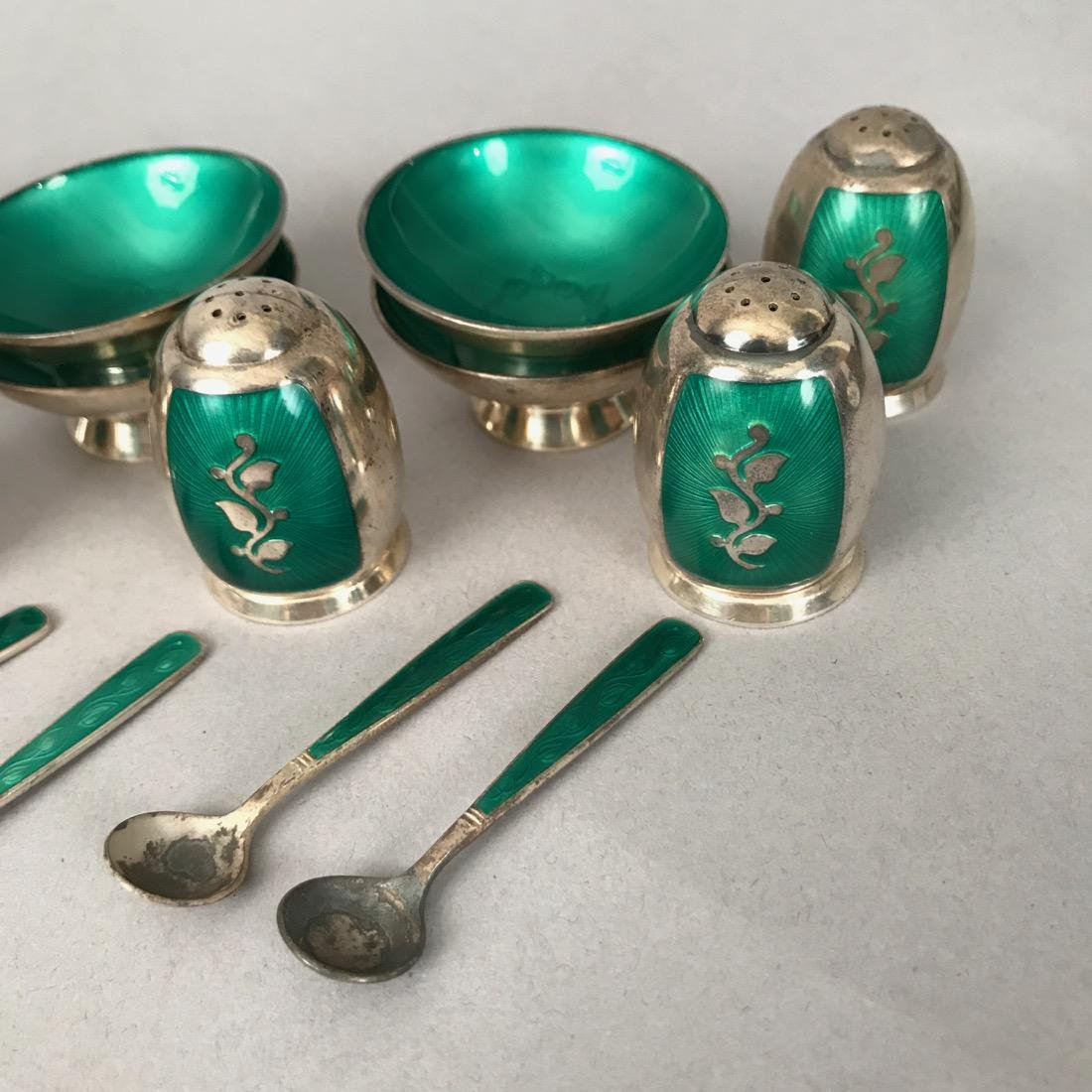 Danish Volmer Bahner Guilloche Salts & Shakers - 2