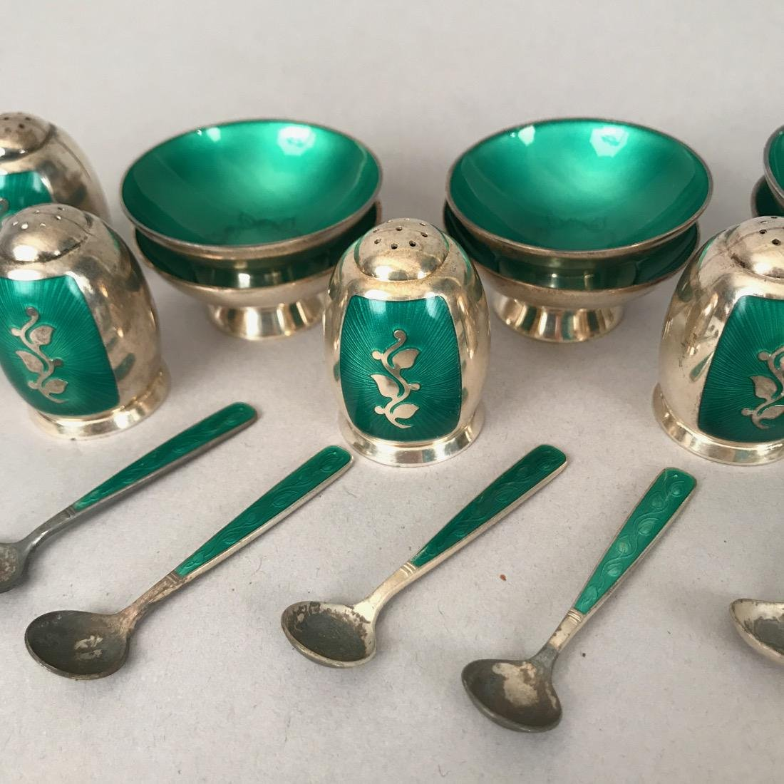 Danish Volmer Bahner Guilloche Salts & Shakers - 3