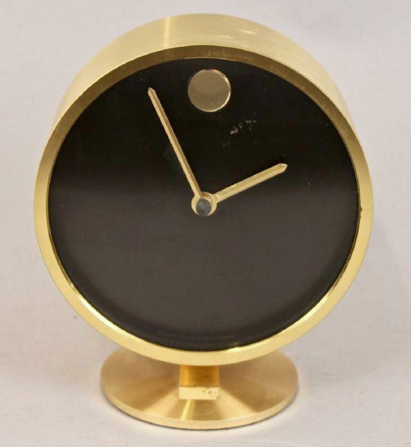 Howard Miller Mid Century Brass Table Clock