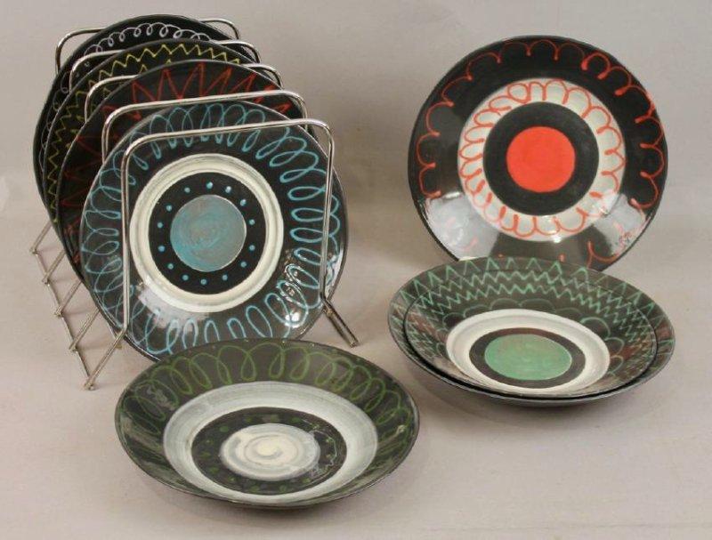 8 Mid Century Ceramic Plates - 2