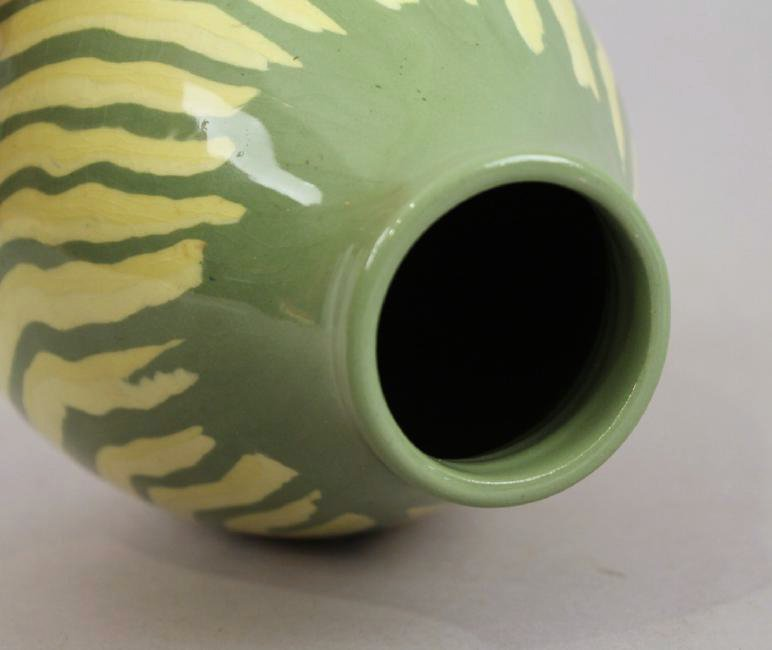 Mid Century Green & Yellow Ceramic Vase Signed - 5