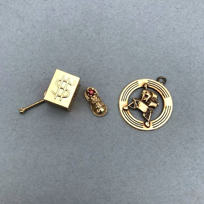3 14K Gold Charms