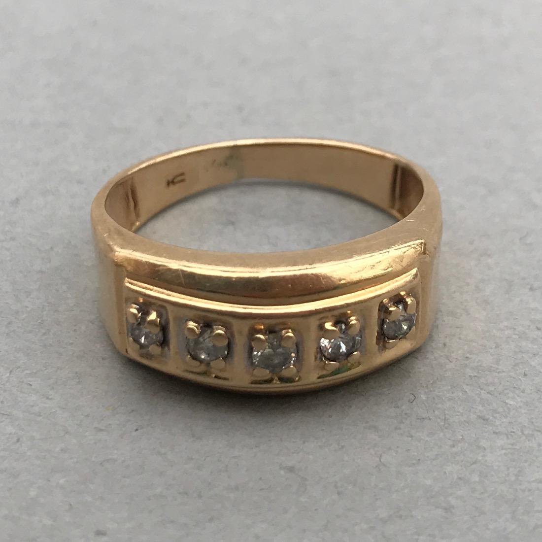14K Gold Ring with 5 Diamonds - 2