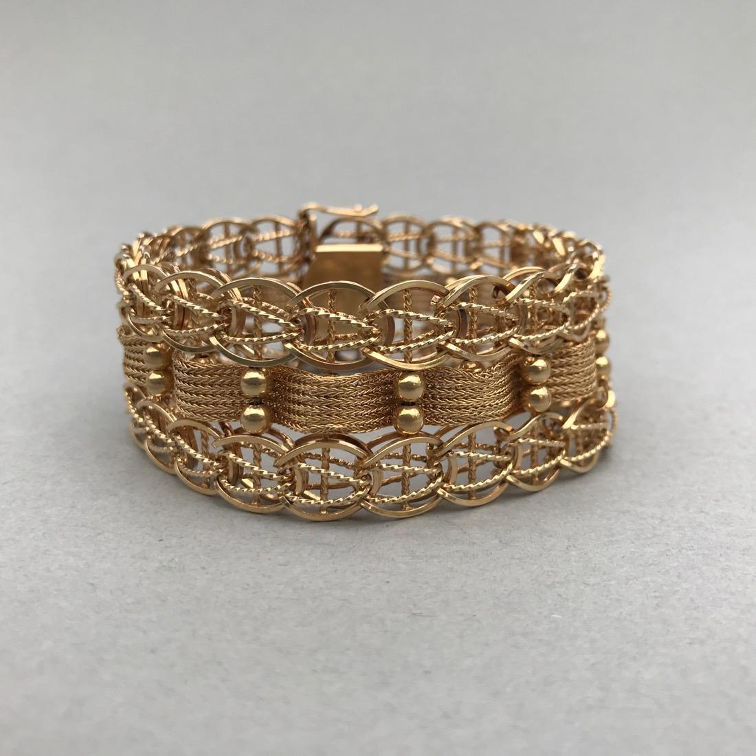 Ornate Woven Chain 14K Gold Bracelet