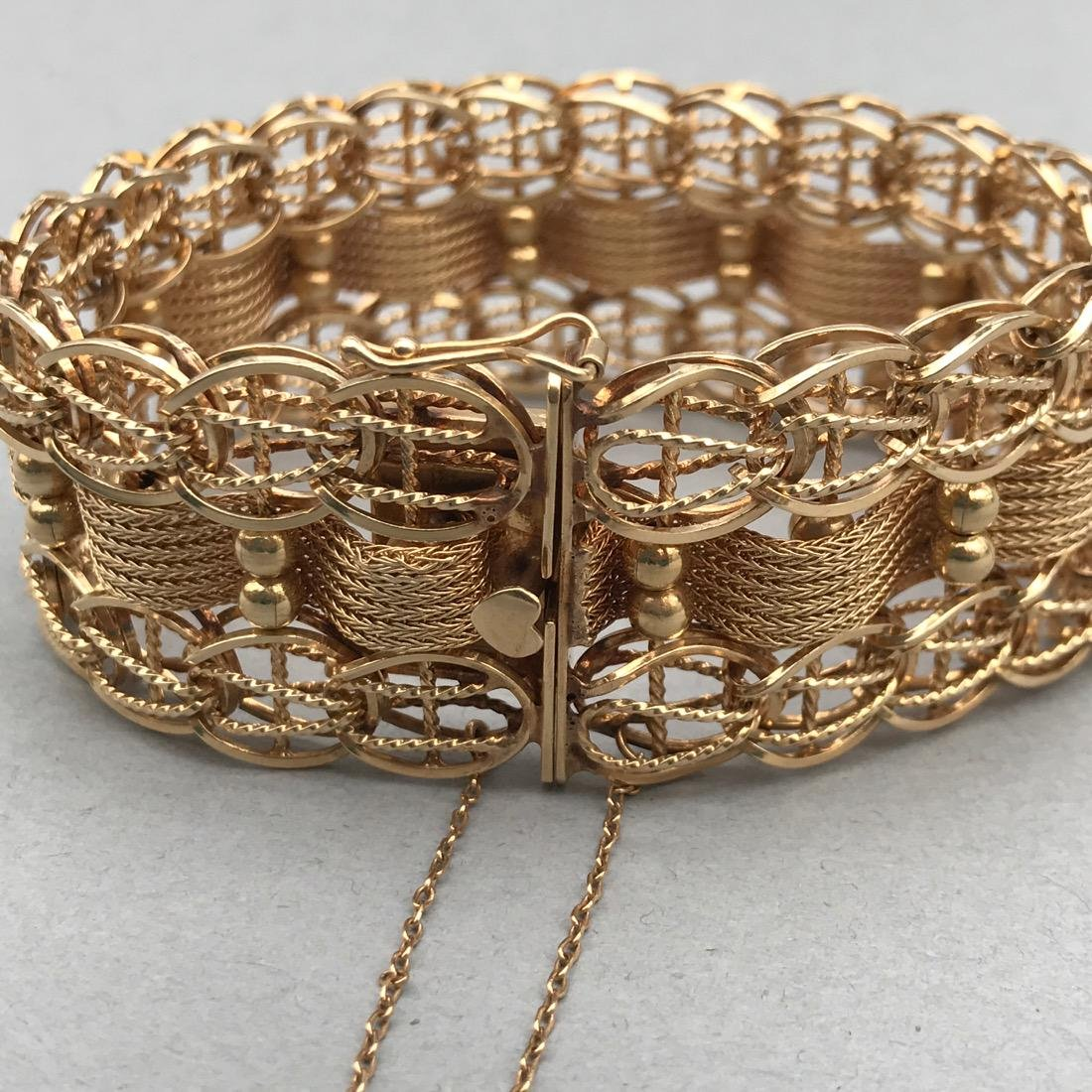 Ornate Woven Chain 14K Gold Bracelet - 3