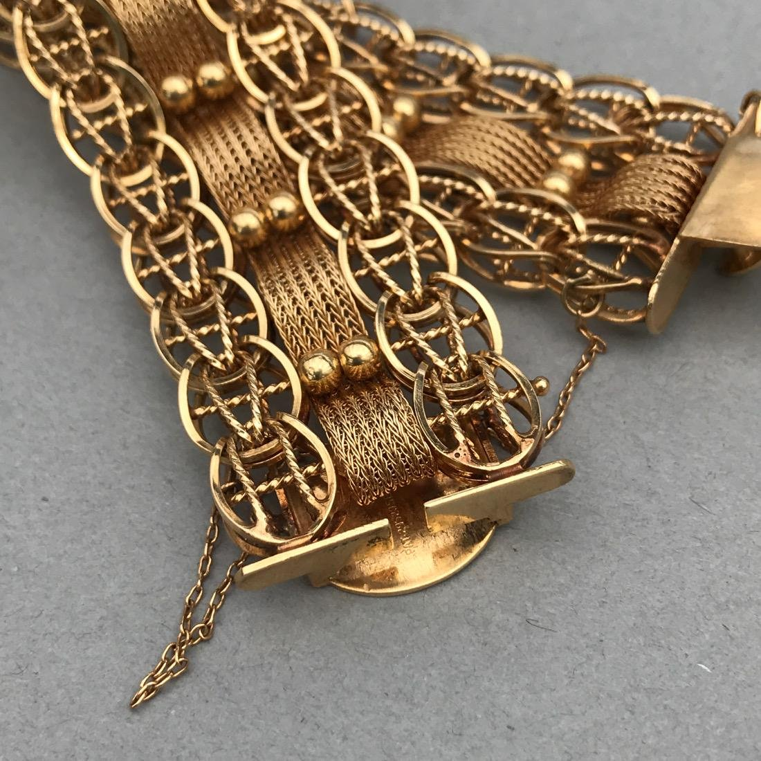 Ornate Woven Chain 14K Gold Bracelet - 4