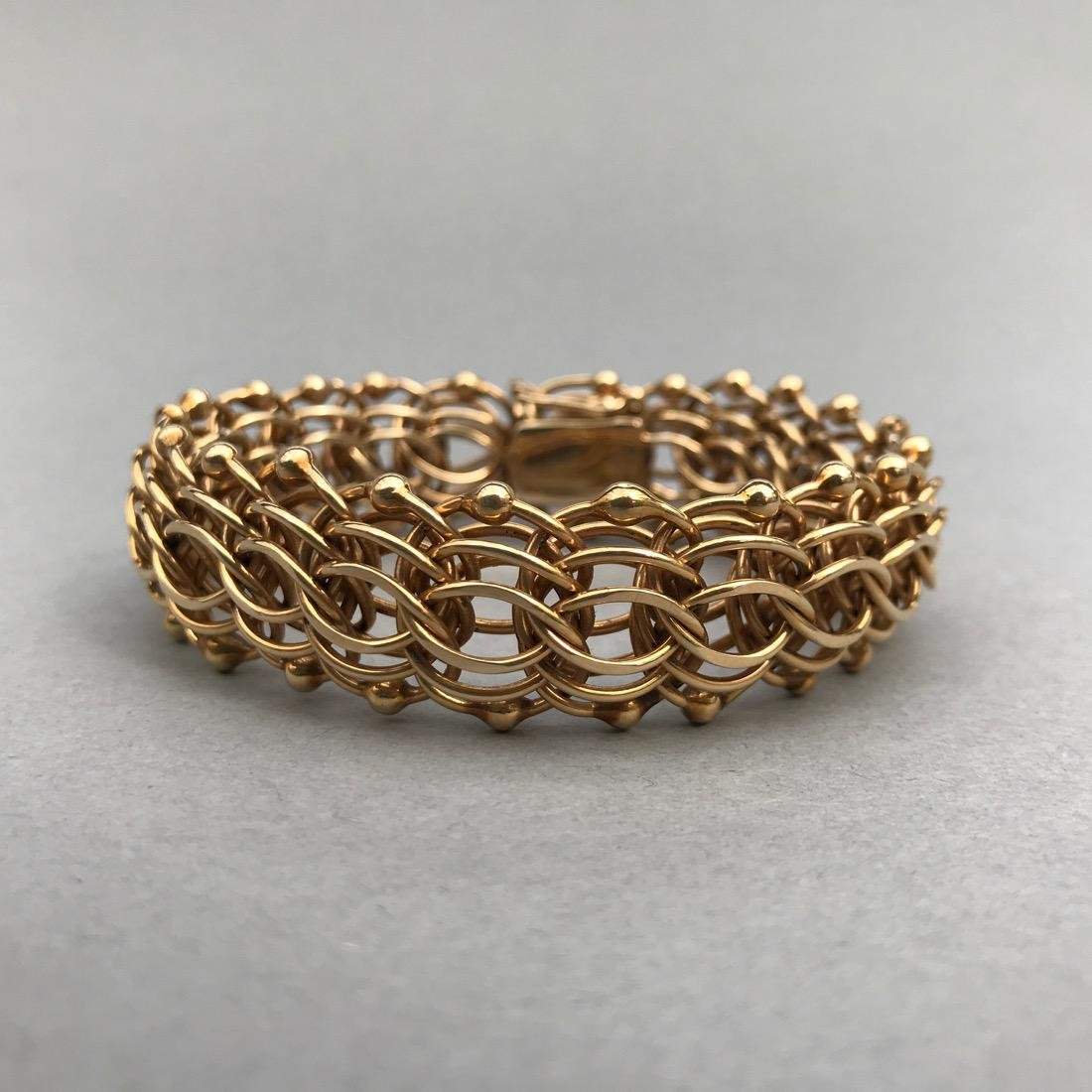 14K Gold Large Chainmail Style Bracelet