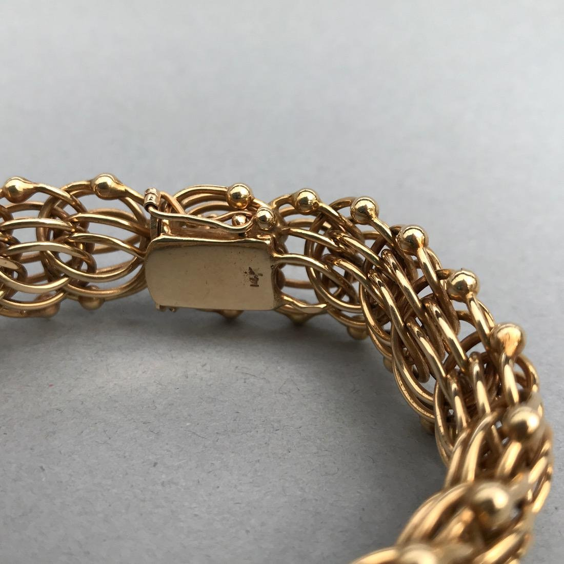 14K Gold Large Chainmail Style Bracelet - 2