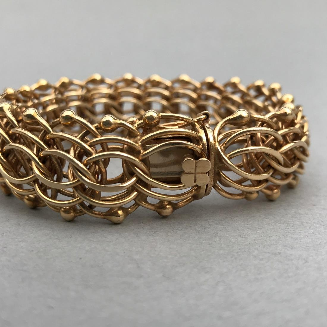 14K Gold Large Chainmail Style Bracelet - 3