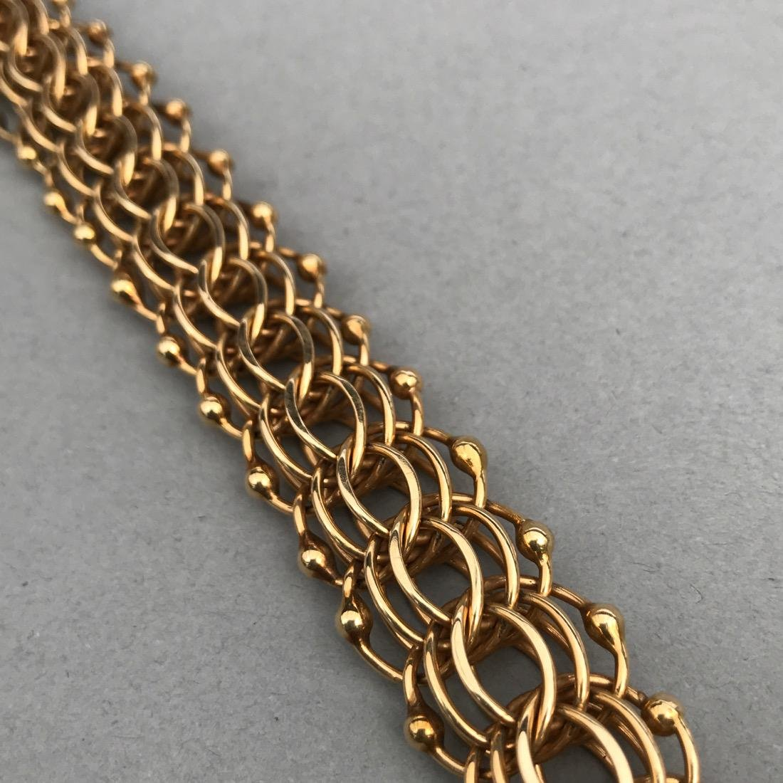 14K Gold Large Chainmail Style Bracelet - 4