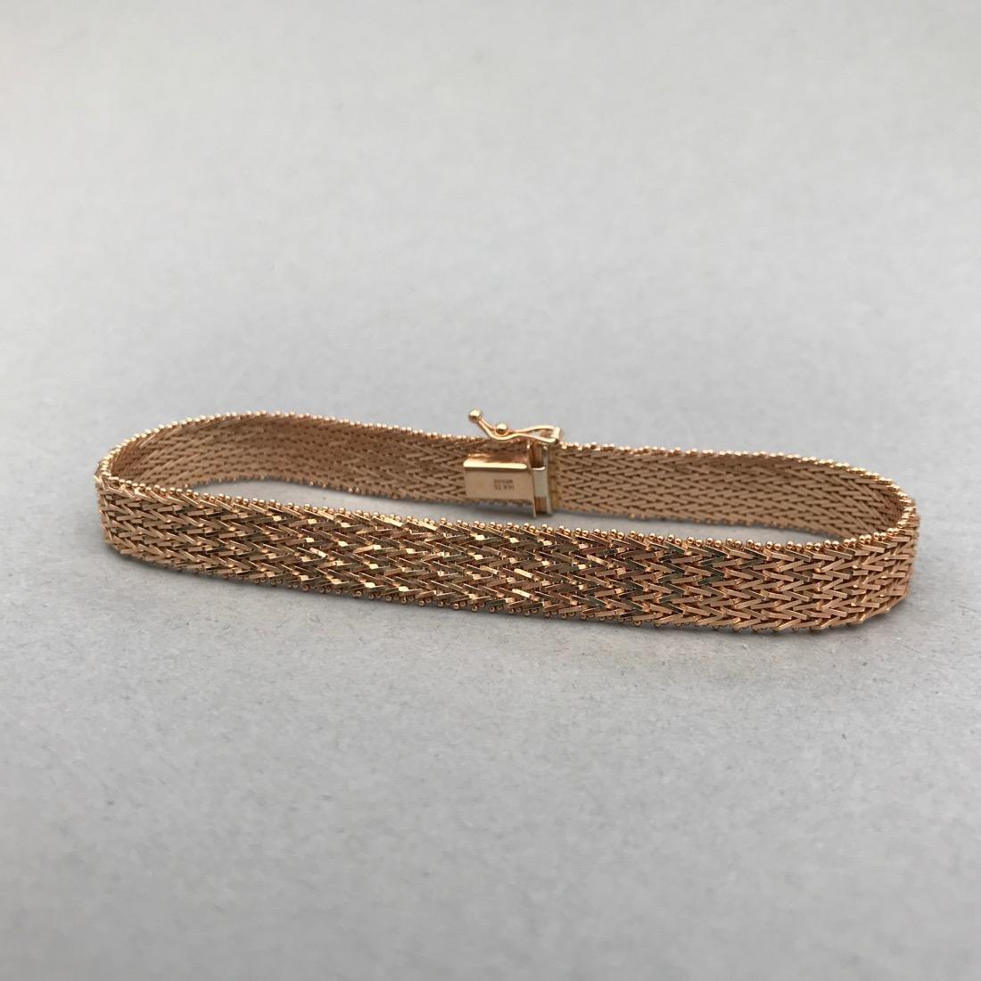 14K Gold Flat Woven Bracelet