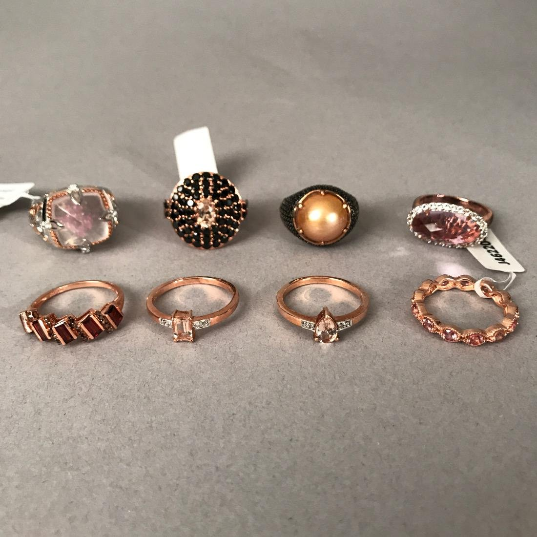 7 Sterling Silver Rings & 1 Bronze