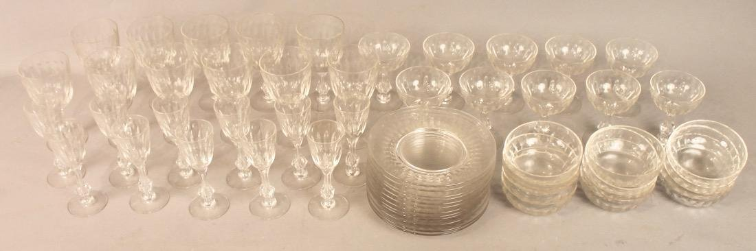 56 Pieces of Cut Crystal Stemware & Dishes