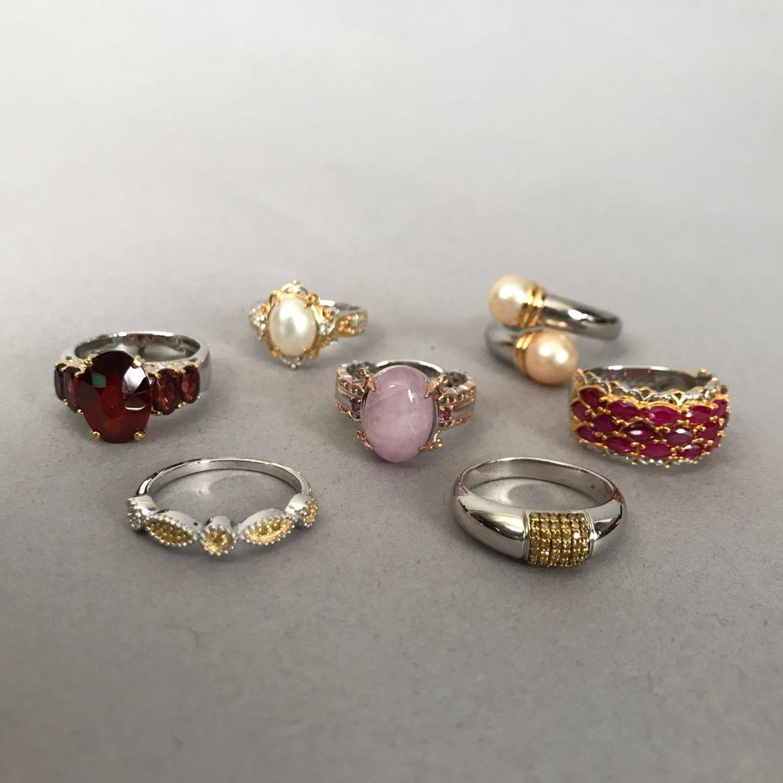7 Sterling Silver Rings with Gold Accents