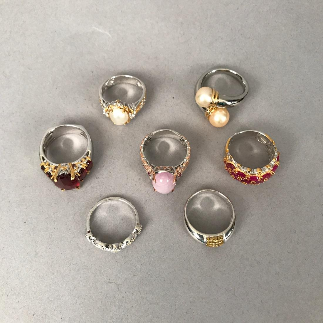 7 Sterling Silver Rings with Gold Accents - 2