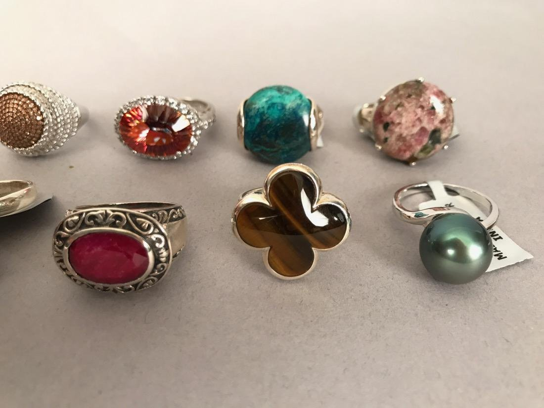 10 Sterling Silver Cocktail Rings - 2
