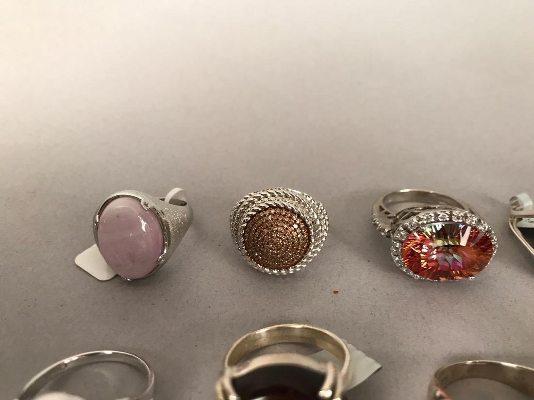 10 Sterling Silver Cocktail Rings - 4