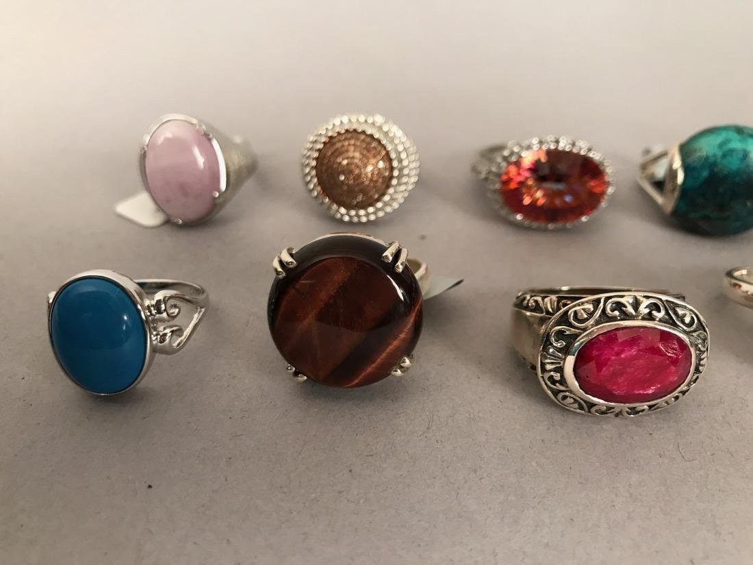 10 Sterling Silver Cocktail Rings - 5